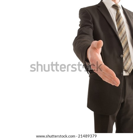 Business man holding out his hand with copy space isolated on white
