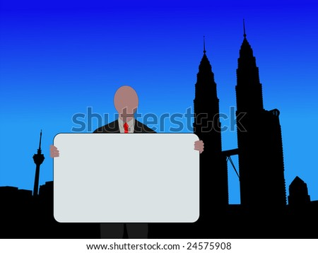 business man holding sign and Petronas Towers illustration JPEG