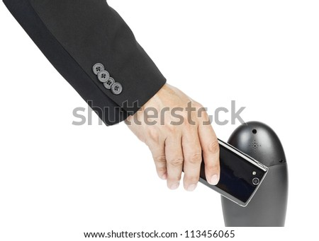business man holding smart phone as NFC - Near field communication concept