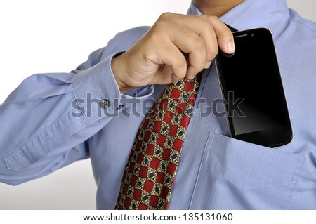 Business man holding smartphone isolated over white background