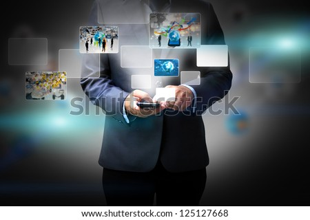 Business man holding social media