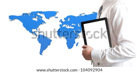 Business man holding tablet PC with blue 3D world map in background