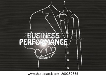 business man holding the word Business Performance
