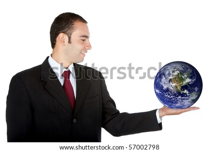business man holding the world in his hands - isolated over a white background