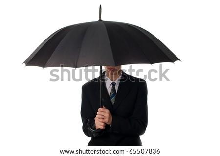 Business man holding umbrella
