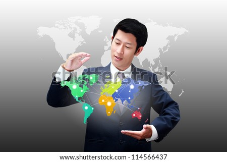Business man holding world map with connection icons of the business