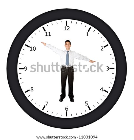 business man in a clock pointing at a certain time