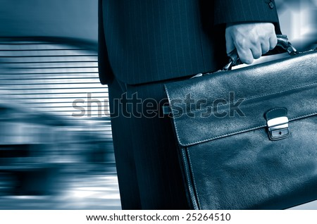 business man in a hurry in duo tone