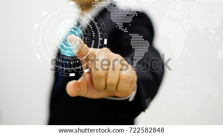 Business man in black suit pointing for fingerprint scan on touchscreen #722582848