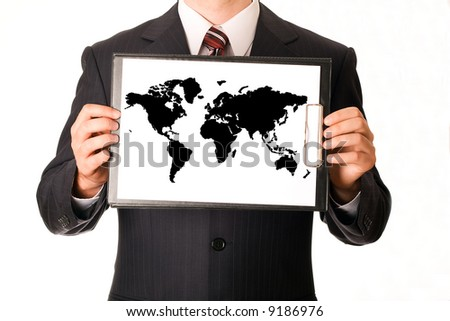 Business man in dark suit holding clipboard  illustration world map