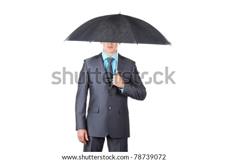 Business man in elegant modern suit hold an umbrella, isolated over white background. Concept. empty copy space.