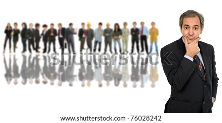 business man in front of a group of people