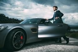Business man in luxury car