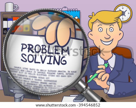 Business Man in Suit Looking at Camera and Shows Paper with Inscription Problem Solving through Magnifier. Closeup View. Colored Modern Line Illustration in Doodle Style.