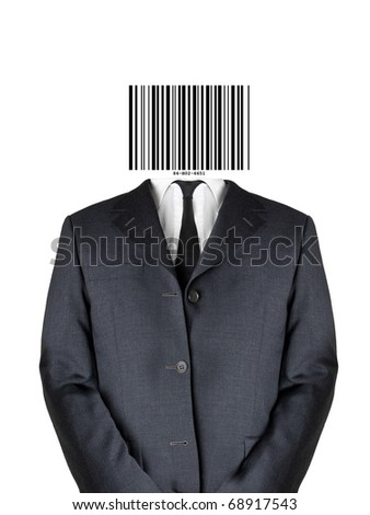 Business man in suit with bar code instead of his head