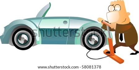Business man inflating a tyre