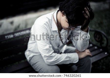 business man is stressed from his work. depression and anxiety concept. #746320261