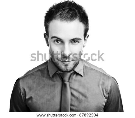 business man. Isolated over white background. Black-white photo.