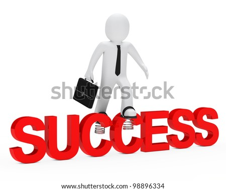 business man jump over red success word