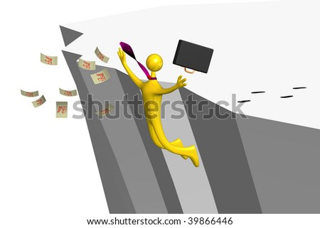 business man jumping off a cliff