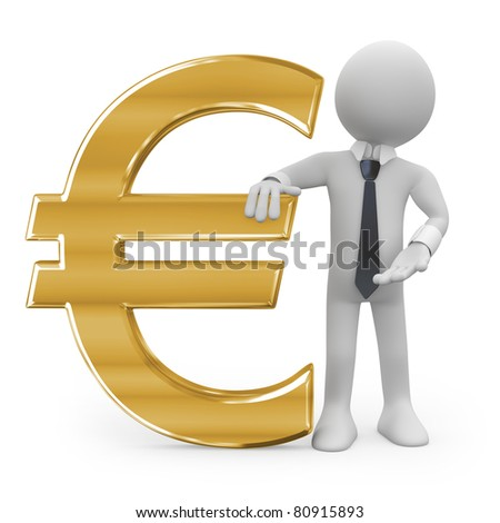 Business man leaning on the euro sign