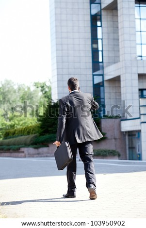 Business man leaving after a working day , end of a business day, back view