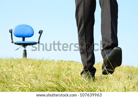Business man leaving the seat