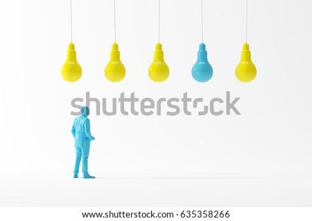 Business man looking light bulbs look different concept idea. business minimal idea. 3D Illustration.