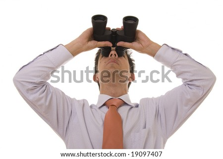 Business man looking up with binoculars