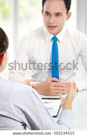 business man make a job interview with applicant