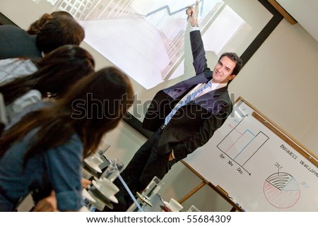 Business man making a presentation at the office