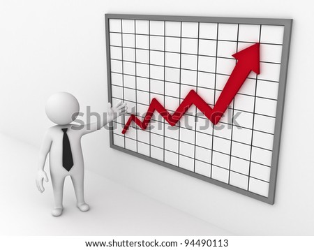 Business man making a presentation with growth progress red arrow on white background