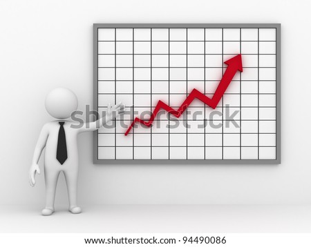 Business man making a presentation with red rising arrow graph on white background