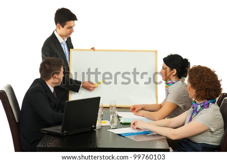 Business man making presentation at meeting on blank board against white background
