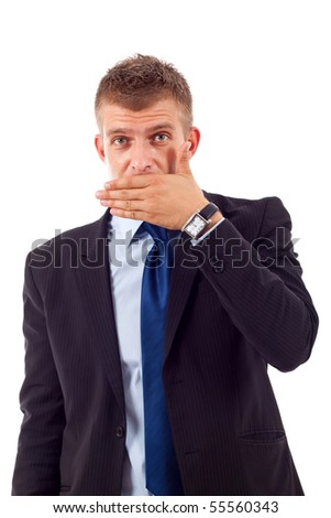 business man making the speak no evil gesture over white