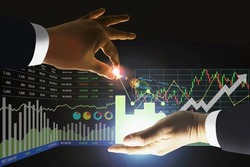Business man manipulate stock index data arrow up growth indicators with candlesticks graph and chart symbol for investment presentation and report background.