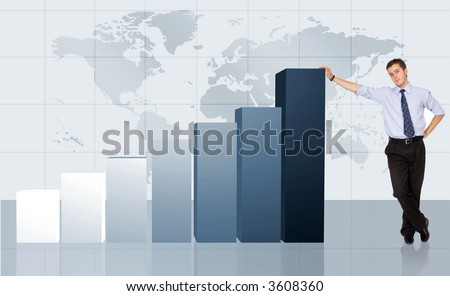 business man next to a graph chart showing his growth and success