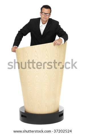 Business man on a lectern