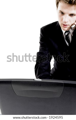 business man on cell phone over white