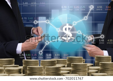 Business man on digital stock market financial indicator background. Digital business and stock market financial indicator . Double exposure of business man and digital stock market financial.investor