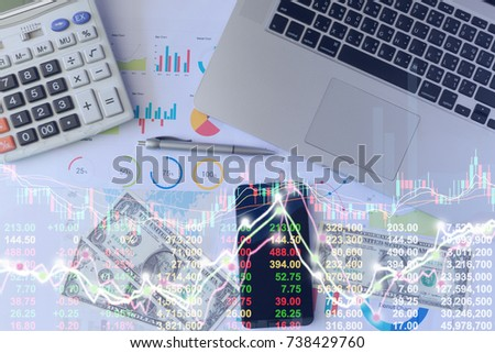 Business man on digital stock market financial indicator background. Digital business and stock market financial indicator. Double exposure of business man and digital investor stock market financial.