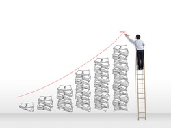 Business man on ladder  drawing idea is money concept on wall