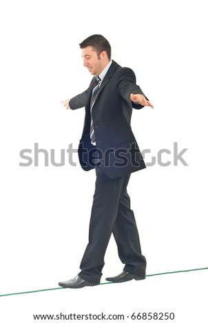 Business man on tightrope  concentrate to  walking isolatedon white background