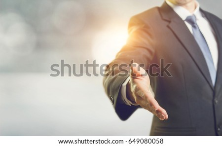 Business man open hand ready to seal a deal, partner shaking hands, shaking hands, copy space. sunlight effect.