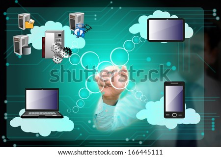 Business man operating cloud computing network connecting various systems over cloud through mobile, laptop, tab, touch screen