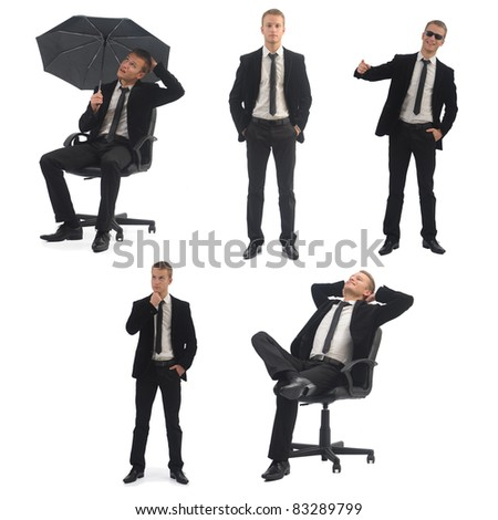 Business man pack on white background