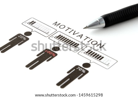 Business man pictogram with various motivation percentage and pen #1459615298