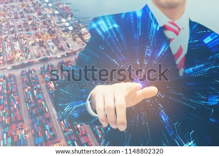 Business man point the best area for investment and development go to the gold target concept technology logistic low cost economy.