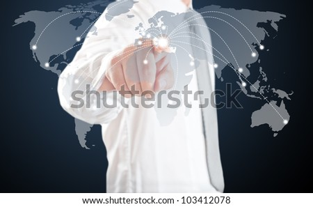 Business man point to touch screen map at Greece. For Europe economic crisis concept