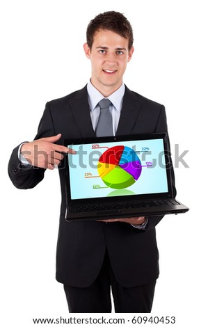 Business man pointing at a laptop computer with pie chart, isolated on white